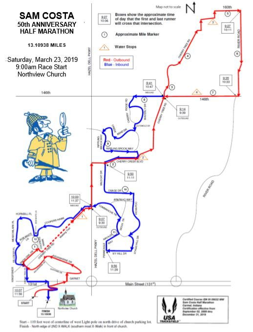 Costa Half Marathon Map